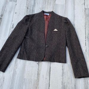 Vintage 70s 80s Union Label Cropped Fitted Blazer